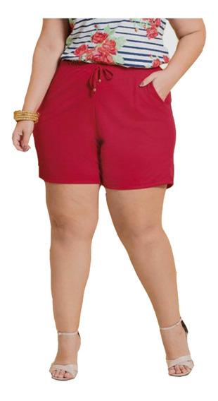 Shorts Bermuda Feminino Plus Size Soltinho Vermelho G Ao G3