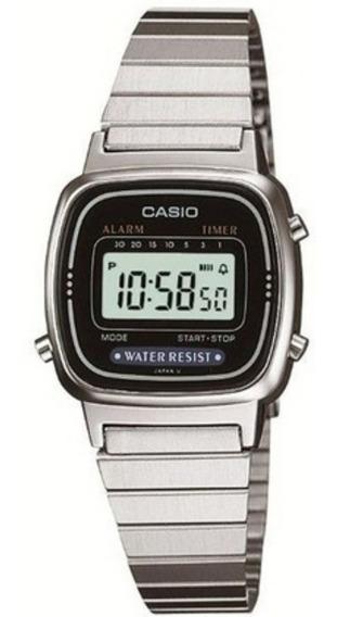 Relógio Casio La670 Mini Prata Feminino Original