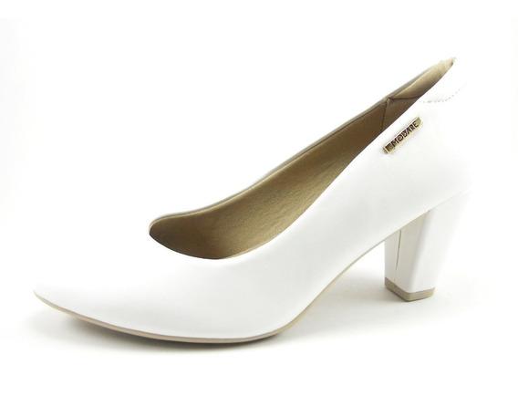 Zapato Stiletto Clásico Blanco Y Negro Taco Separado Modare