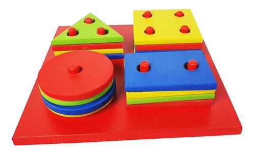 Imagem 1 de 5 de Brinquedo Educativo Pedagógico Montessori Formas Geométricas