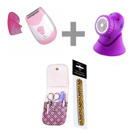 Aparador De Pelos Lady Trimmer + Feet Care + Conjunto Basic
