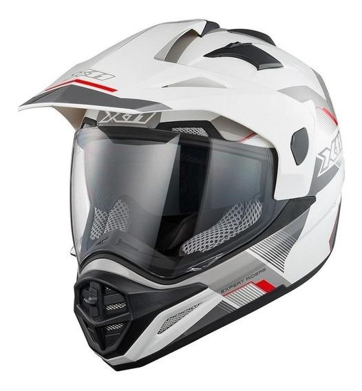 Capacete para moto cross X11 Crossover X3 branco M