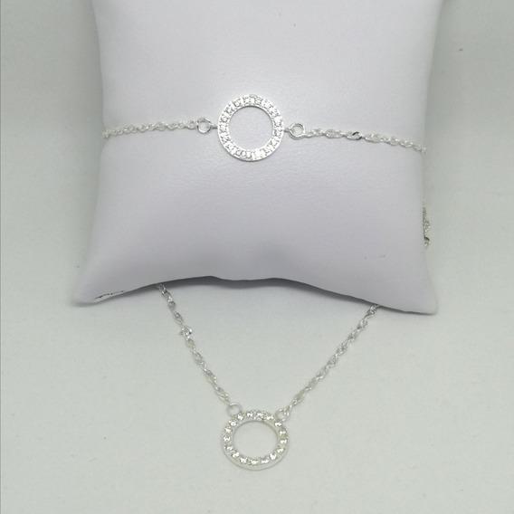 Collar Y Pulsera Circulo Minimalista Para Mujer Novia Plata