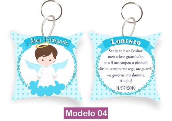 Almofada Chaveiro Presente Lembrança Batizado Anjo 20 Peças