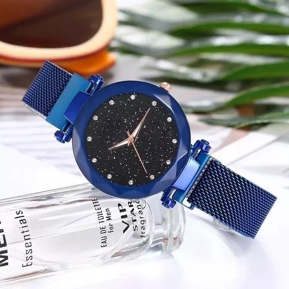 Relógio Ck Feminino Céu Estrelado Pulseira Magnética Promoc