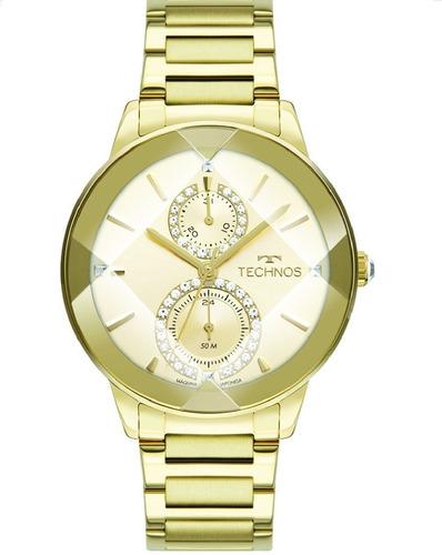 Relógio Technos Feminino Crystal Dourado 6p73af/1x