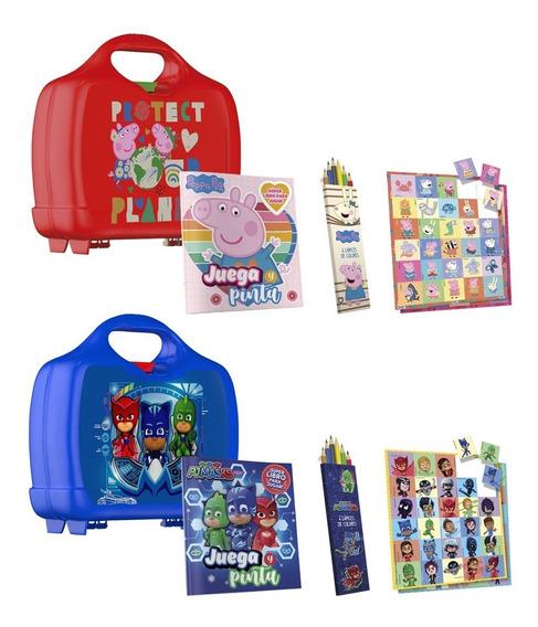 Clarín Valijita Peppa Pig Y Pj Masks Con Stickers Y Lápices