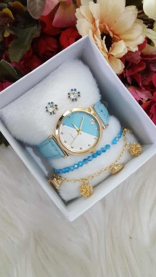 Kit Relógio+pulseira+brinco