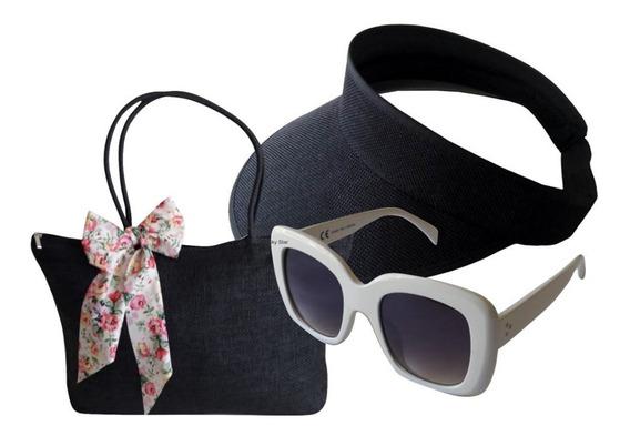 Óculos De Sol Feminino + Bolsa Praia Sacola Ombro + Viseira