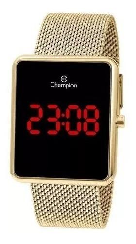 Relógio Champion Feminino Dourado Ouro 18k Quadrado