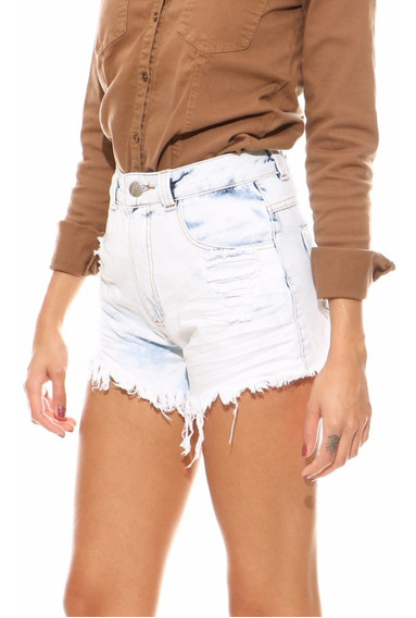 Short Lady Rock Cós Alto Original Jeans Cintura Alta Shorts