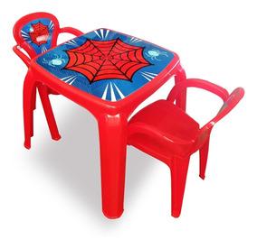 Mesa Mesinha Infantil Com 2 Cadeiras Spider Menino