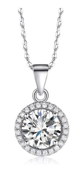 Dije Y Cadena Diamante Ruso Cz 2ct En Plata 925, Regalo
