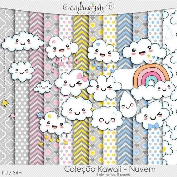 Kit Imprimible Nubes Kawaii Lluvia De Amor Imagenes Y Fondos