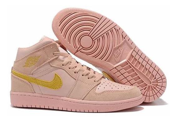 Tenis Air Jordan 1 Goldpink Retrô