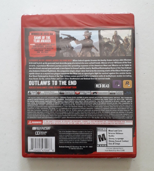 Red Dead Redemption Game Of The Year Ps3 Disco Física Novo