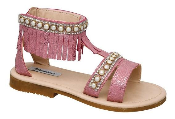 Sandalia Plumitas Tanger Para Niña Rosa Con Perlas Y Flecos