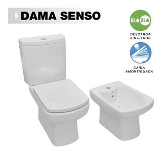 Inodoro Largo Roca + Deposito + Bidet Roca Dama Senso + Tapa