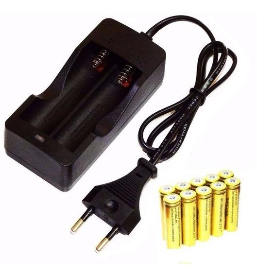 Kit Carregador Duplo+10 Baterias 18650 4,2v 6800mah