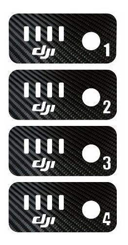 4 Adesivos Fibra De Carbono Numerados Bateria Phantom 1 2 3
