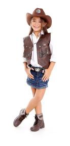 Colete Country Feminino Com Chapeu, Camisa E Cinto Kit 4 Pçs