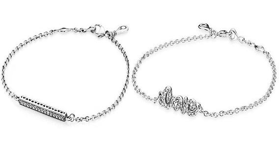 Pulseira Bracelete Prata 925 Maciça Coracao E Love