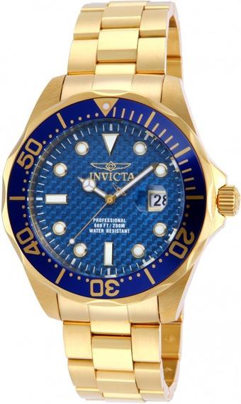 Relogio Masculino Invicta Pro Diver 14357 Banhado A Ouro 18k