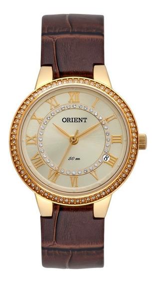 Relógio Orient Feminino Dourado Couro Fgsc1005 C3nx