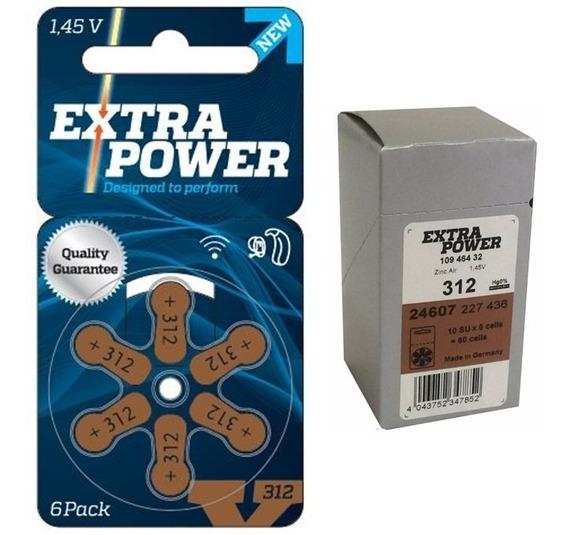 Bateria 312 Aparelho Auditivo Pr41 Extra Power 60 Pilhas Nf