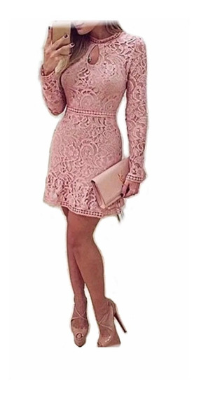 Vestido Rosa Encaje Fiesta Eventos Trasparencia Moda