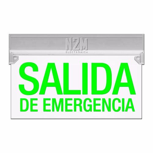 Cartel Led Salida De Emergencia 35x20 Bateria Recargable 220v Señalizador Luminoso