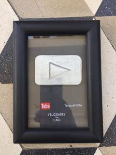 Placa De Youtube | Botón De Plata | Totalmente Personalizada