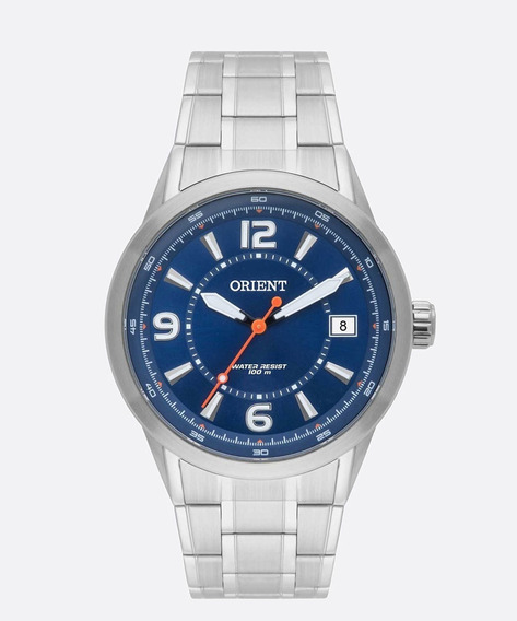 Relogio Masculino Orient Aço Prata Com Azul Mbss1269