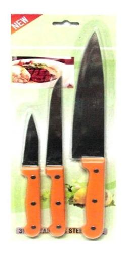 Juego De Cuchillos 3 Piezas Acero, Somos Tienda.