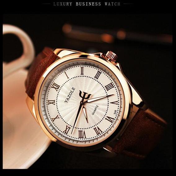 Relógio Original Masculino Modelo Pulseira Couro Promoção