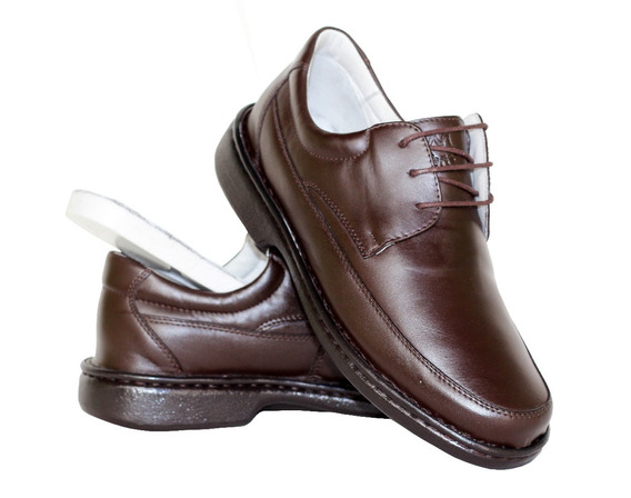 Sapato Ortopédico Couro Masculino Social Antistress Conforto