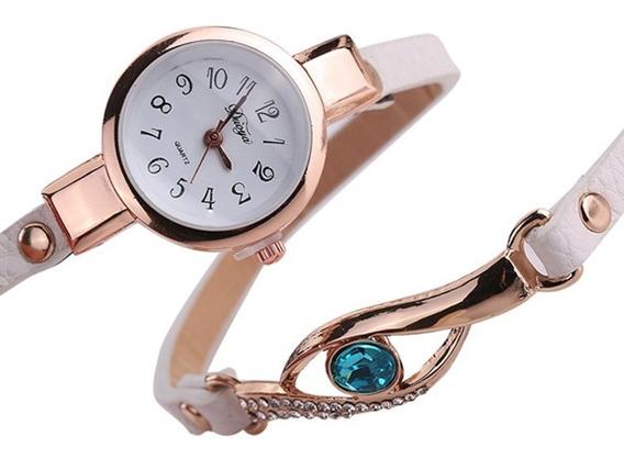 Relógio Feminino De Pulso Dourado Com Pedra Vintage
