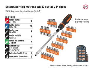 Juego Destornillador Tipo Matraca 42 Puntas Y 14 Dados Mm
