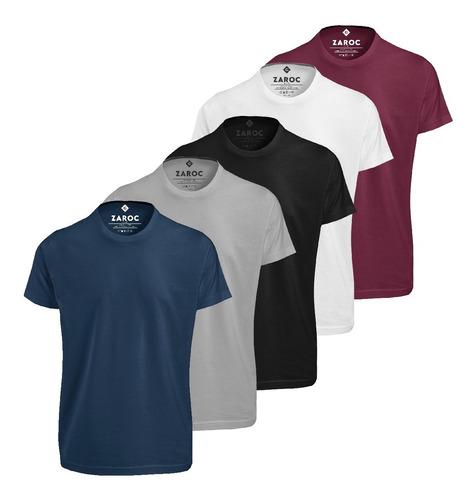 Imagem 1 de 7 de Kit 5 Camisetas Masculinas Slim Fit  Básicas Algodão Premium