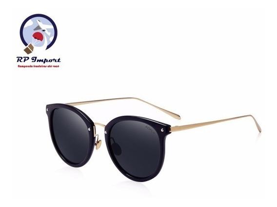 Óculos De Sol Aofly Feminino Oval Preto Rosa Com Dourado