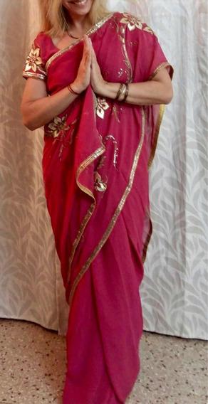 Saree Seda Confeccionado A Mano Hecho En India