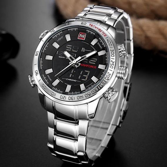 Relógio Naviforce Importado Original Modelo 9093 Prateado