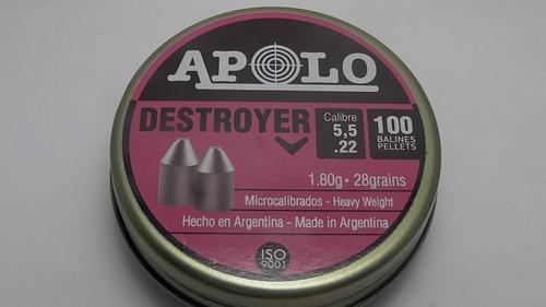 Chumbos Apolo Destroyer 5,5 Microcalibrados 28 Grains