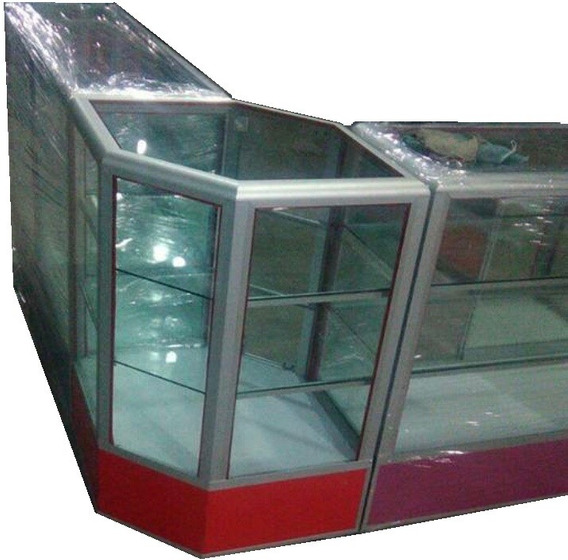 Vitrina Exhibidora Esquinera Mostrador De Cristal 1.20x1.20