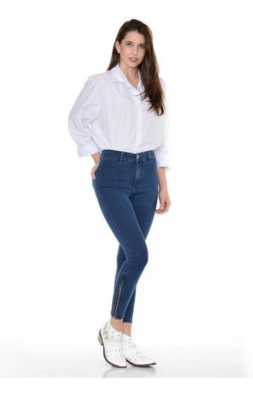 Pantalon Jean Maya Marca Sisa Tiro Alto Chupin Elastizado