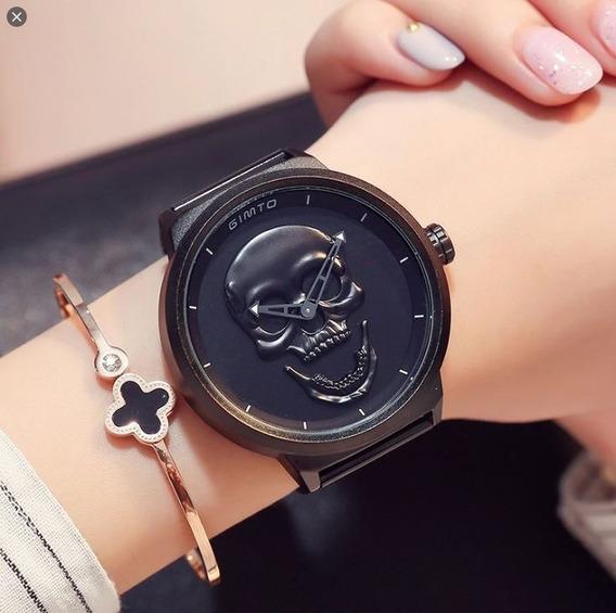Relógio Feminino Gimto Caveira 3d Preto Lindo Top Da Moda