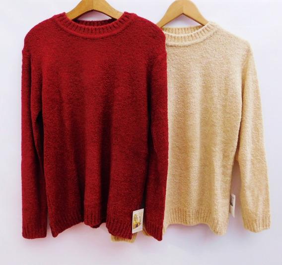 Sweater Mujer Talles Grandes Chicos Cuello Redondo Abrigado