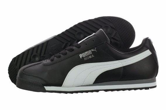 Puma Roma Silver 100% Original Para Dama Negro Franja Blanca
