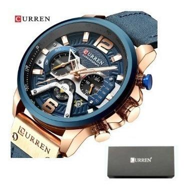 Relógio Masculino Curren 8329 Luxo Couro Com Caixa Estojo