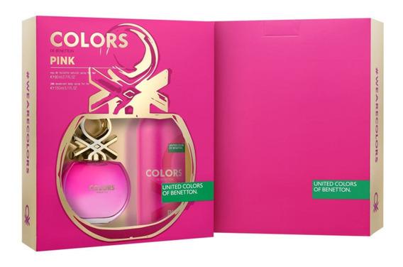Conjunto Colors Pink Deo Benetton Feminino (2 Produtos) Blz